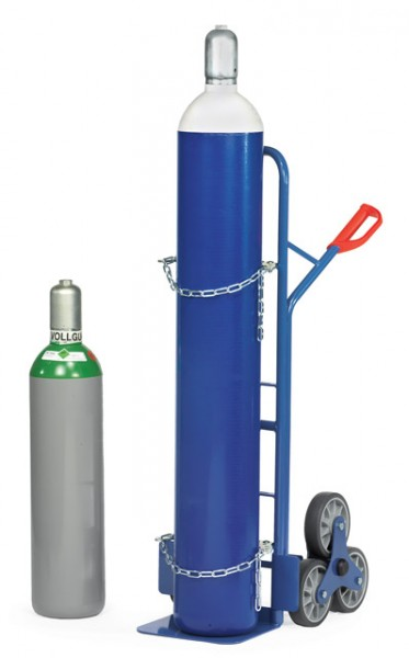Stahlflaschen-Treppenkarren 200 kg Tragkraft, 1x20-50 Liter, 2 x 3-fach Radsterne