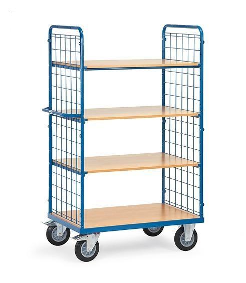 Etagenwagen mit Drahtgitterwänden und 4 Böden 500 kg Tragkraft