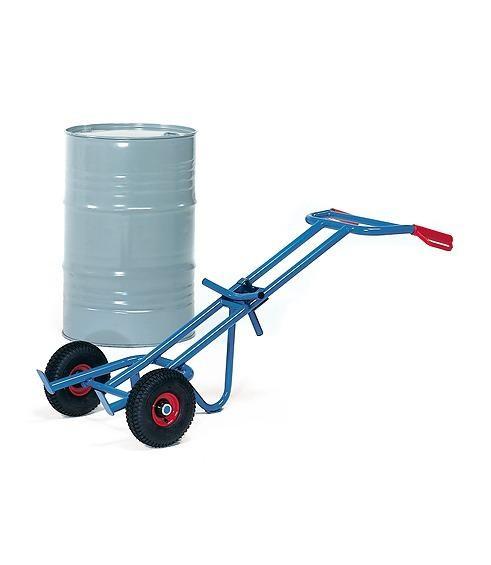 Fasskarren mit Stützlenkrolle für 200-Liter Fässer mit Rand, 300 kg Tragkraft, Vollgummi-Reifen