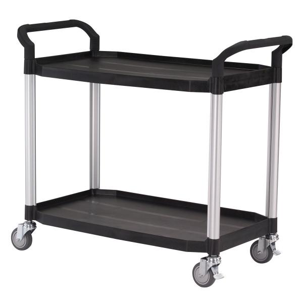 Tischwagen 1100x520 mm, 250 kg Tragkraft, Etagen und Schiebebügel, Kunststoff schwarz, Aluminium