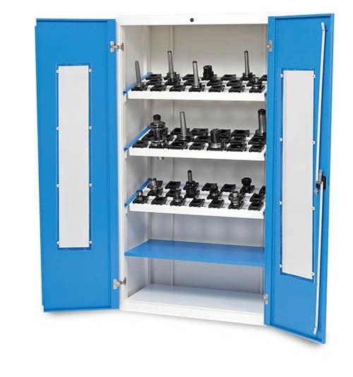 CNC Werkzeugschrank 980x500x1838 mm, mit Fenster inkl. 3 Werkzeugaufnahmerahmen, CNC-Einsätze