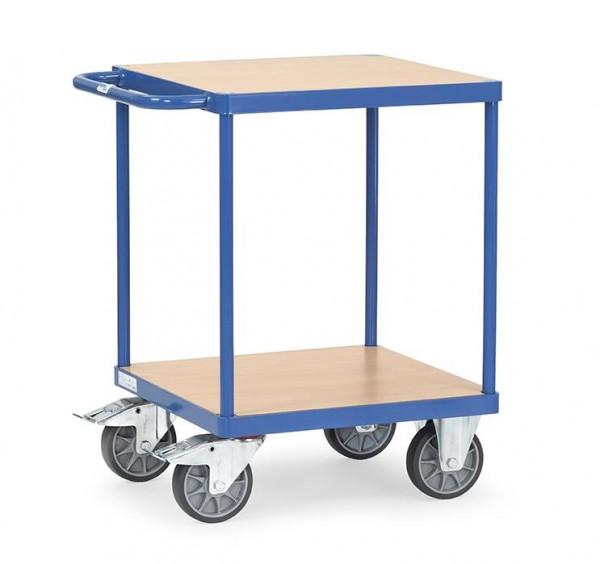 Schwerer Tisch- und Montagewagen,600x600 mm, 500 kg Tragkraft, Holzplattform quadratisch