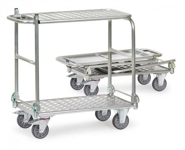 Alu-Klappwagen mit Alu-Tischplattform 900x600 mm, 200 kg Tragkraft, 2 Etagen