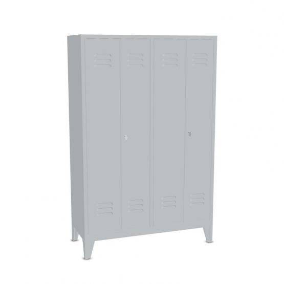 Garderoben-Stahlspinde 4 Abteile mit Füßen, Breite 1290 mm, Höhe 1850 mm gibt es in 3 Farben