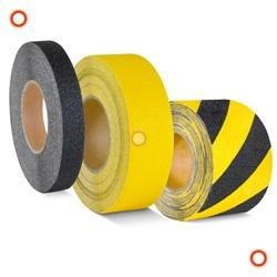 Antirutschbänder, schwaz-gelb, Breite 25 mm verformbar, selbstklebend, Rolle 18,3 m