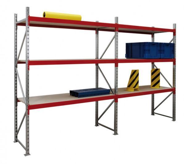 Weitspannregal, verzinkt 3000x600x2000 mm,6 Fächer mit Spanplatten 250 kg Tragkraft pro Ebene