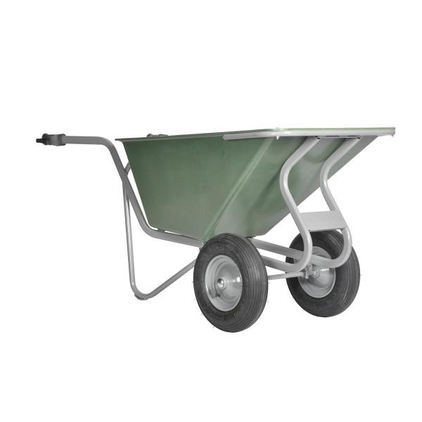 Stall- und Hofkarre, 160 Liter, 250 kg Tragkraft, 2 Luftreifen, Kunststoffmulde grün