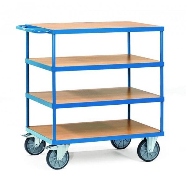 Schwerer Tisch- und Montagewagen mit 4 Etagen, 600 kg Tragkraft, 1000x700 mm