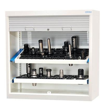 CNC Kunststoff-Rollladenschrank 1000x500x1000 mm, inkl. 2 Werkzeugaufnahmerahmen, inkl. CNC-Einsätze