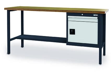 Kastenwerkbank 2000x600x960 mm,1 Flügeltür, 1 Schublade, 1 Ablage, 800 kg Tragkraft, anthrazit