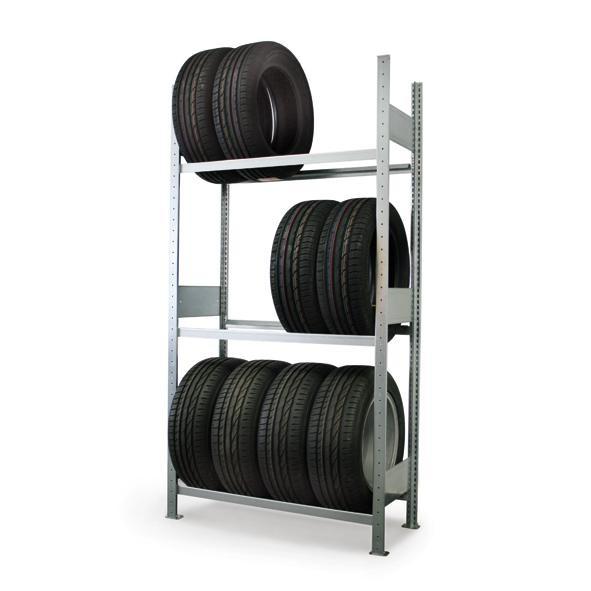 Reifenregal, verzinkt, als Grund- und Anbauregal, 150 kg Tragkraft pro Boden