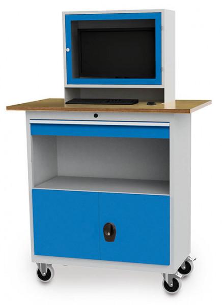 Fahrbarer Computerschrank mit Monitoraufsatz, Arbeitsplatte , Unterschrank, Fach, 1200x700x1796