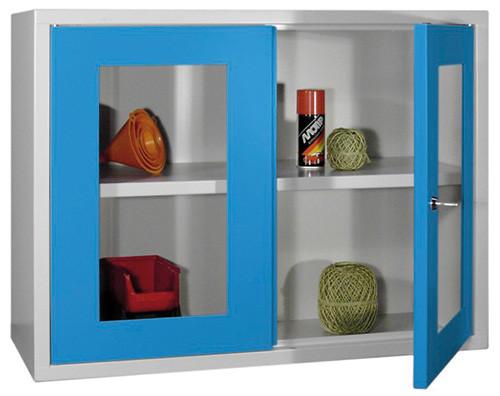 Werkstatt-Hängeschrank 800x300x600 mm BxTxH, aus Metall mit 2 Sichtfenstertüren, glatte Rückwand