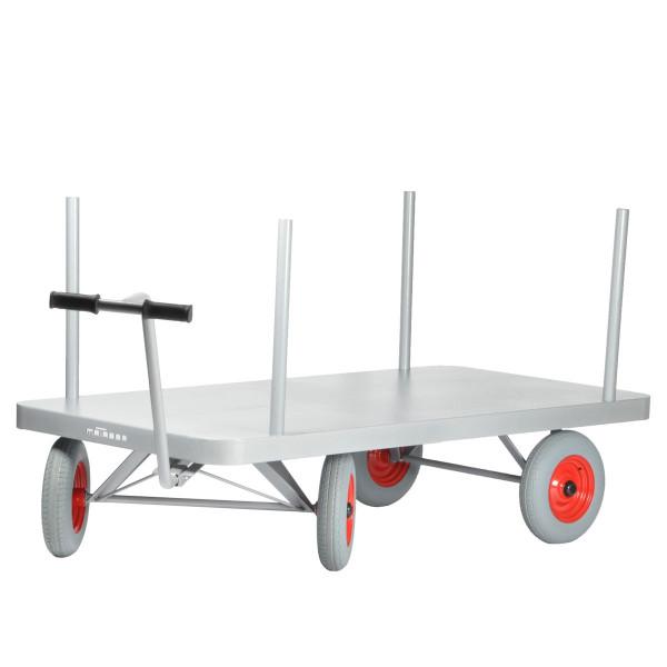 Pritschenwagen 2000x1000 mm, 500 kg Tragkraft, Metall-Ladefläche mit Rungen, pannensichere Räder