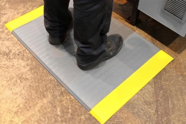 Arbeitsplatzmatte Orthomat® Ribbed, grau/gelb 900 x 1500 mm