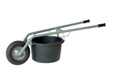Kübel- und Mörtelkarre, für Kübel 65 + 95 Liter, 250 kg Tragkraft, Luftreifen - auch für Pflanzkübel