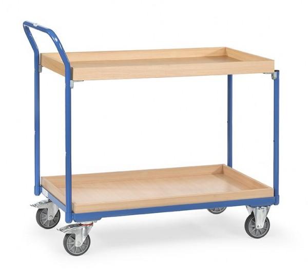 Leichter Tisch- und Werkstattwagen, 850x500 mm, 300 kg Tragkraft, , 2 x Abrollkanten