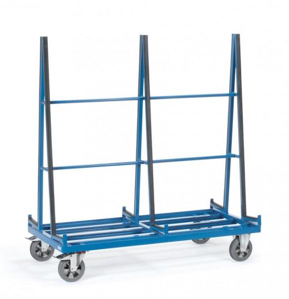 Glaswagen 1276x 2x 230 mm, 1200 kg Tragkraft, zweiseitige Anlehnung, Profilgummi-Auflage