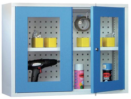Werkstatt-Hängeschrank 800x300x600 mm BxTxH, aus Metall mit 2 Sichtfenstertüren, Lochblech-Rückwand