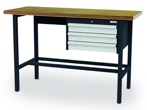 Arbeitstisch 1500x600x960 mm, 3 Schubladen, feststehend, 200 kg Tragkraft