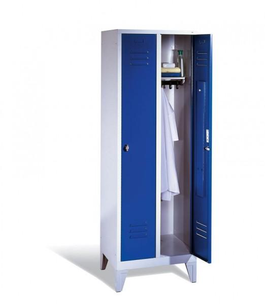 Garderoben-Stahlspinde 2 Abteile mit Füßen, Breite 610 mm, Höhe 1850 mm, enzianblau