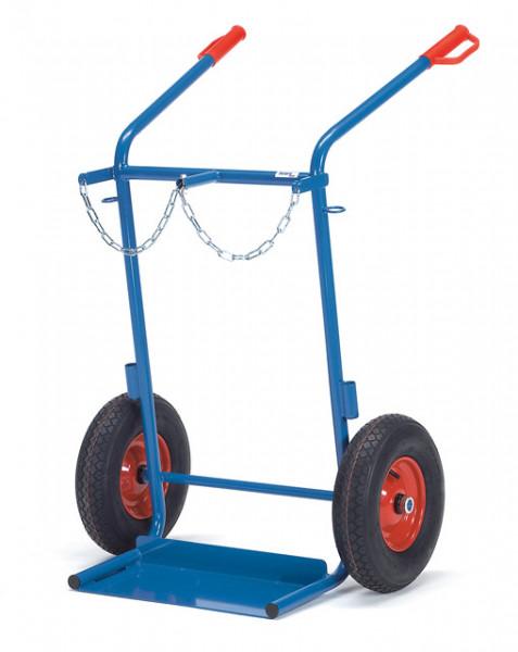 Stahlflaschenkarren Lufträder,150 kg Tragkraft, 2x40-50 Liter, Rad- Ø 400x100 mm, Höhe 1300 mm