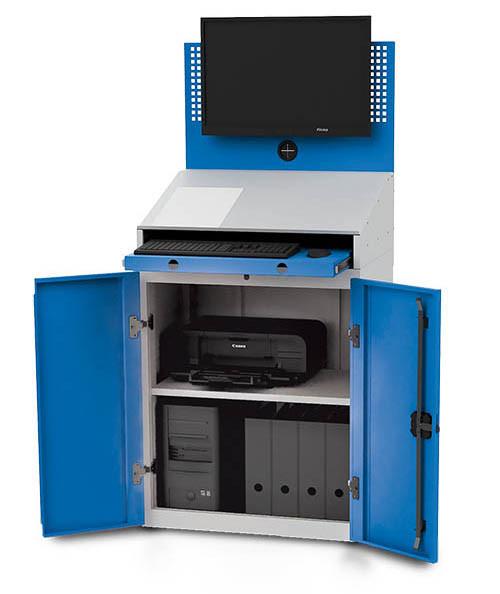 Computerschrank mit Arbeitsplatte für PC, Monitorwand, Tastaturfach, 680x500x1460 mm