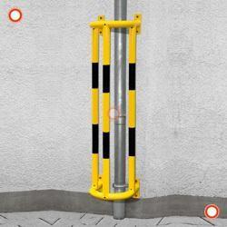 Ramm-Rohrschutz mit Bodenplatte, feuerverzinkt - kunstoffbeschichtet, gelb-schwarz, Höhe 1500 mm