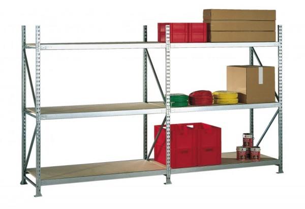 Weitspannregal, verzinkt 2.200 x 3.758 x 650 mm, mit Spanplatten 600 kg Tragkraft pro Ebene