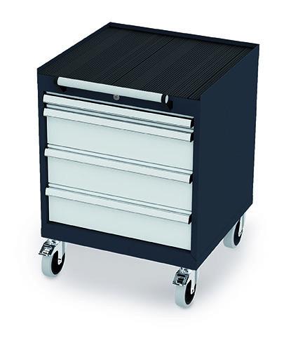Schubladenschrank 600x575x770 mm, 4 Schubladen, anthrazit, fahrbar
